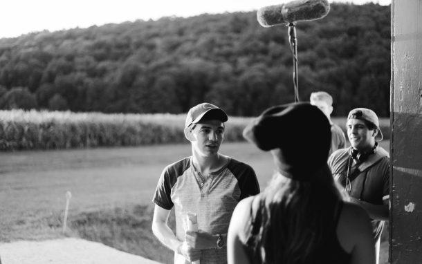 Casey Creveling directing a scene on set